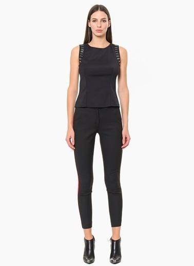 Que Şerit Detaylı Skinny Pantolon Siyah